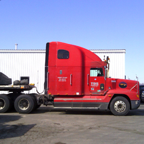 One of the red trucks in TDS's fleet